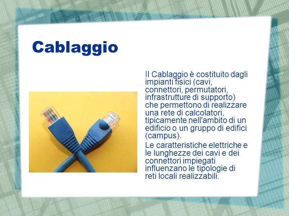 Cablaggio Il Cablaggio è costituito dagli impianti fisici (cavi, connettori, permutatori, infrastrutture di supporto) che permettono di realizzare una