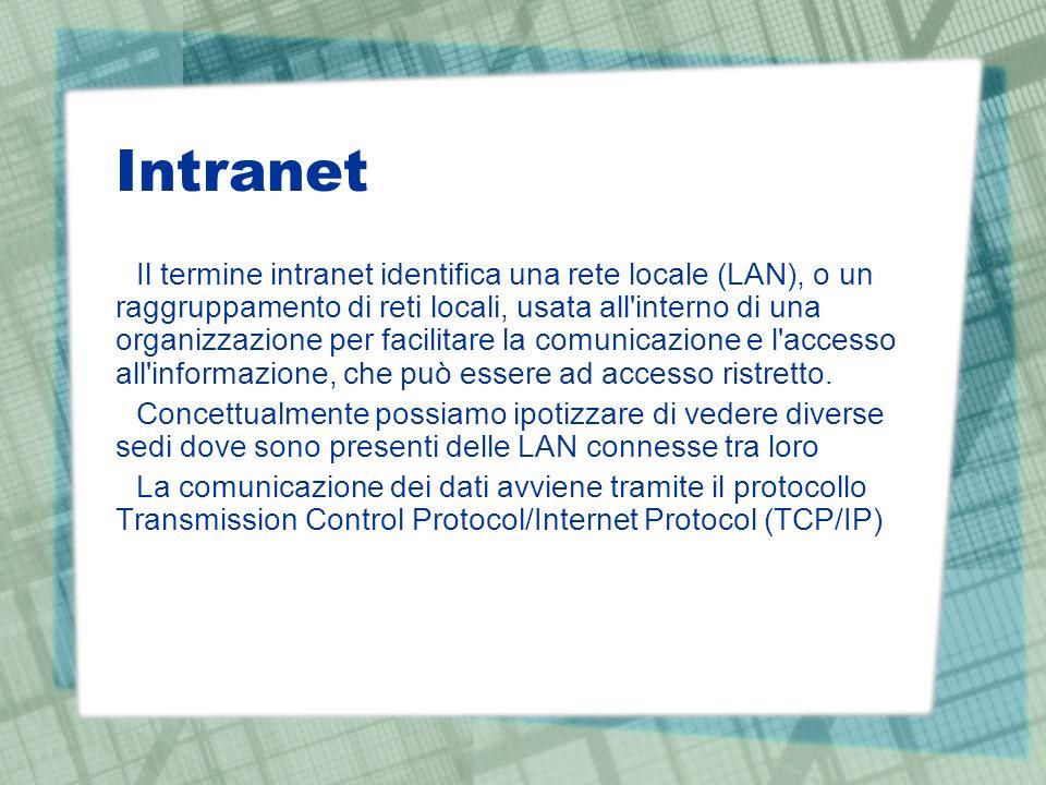 Intranet Il termine intranet identifica una rete locale (LAN), o un raggruppamento di reti locali, usata all interno di una organizzazione per facilitare la comunicazione e l accesso all informazione, che può essere ad accesso ristretto.