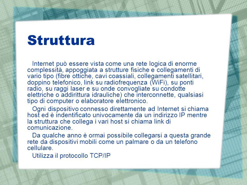 Struttura Internet può essere vista come una rete logica di enorme complessità, appoggiata a strutture fisiche e collegamenti di vario tipo (fibre ott