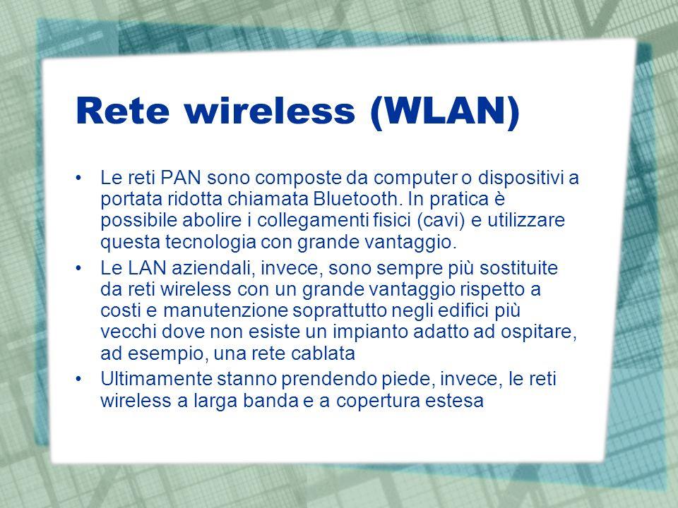 Le reti PAN sono composte da computer o dispositivi a portata ridotta chiamata Bluetooth. In pratica è possibile abolire i collegamenti fisici (cavi)