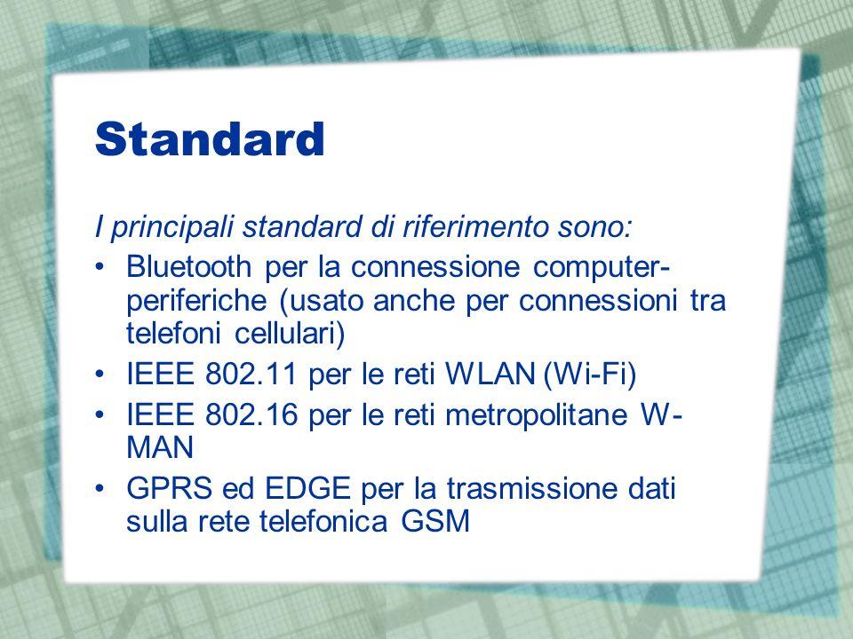 Standard I principali standard di riferimento sono: Bluetooth per la connessione computer- periferiche (usato anche per connessioni tra telefoni cellulari) IEEE 802.11 per le reti WLAN (Wi-Fi) IEEE 802.16 per le reti metropolitane W- MAN GPRS ed EDGE per la trasmissione dati sulla rete telefonica GSM