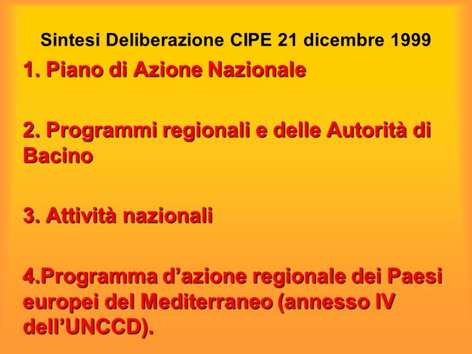 Sintesi Deliberazione CIPE 21 dicembre 1999 1. Piano di Azione Nazionale 2.