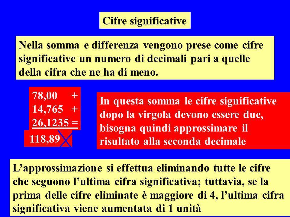 Cifre significative Nella somma e differenza vengono prese come cifre significative un numero di decimali pari a quelle della cifra che ne ha di meno.