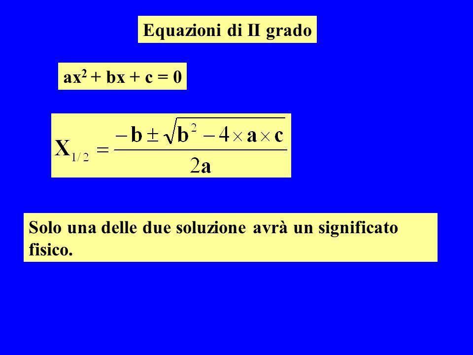 Equazioni di II grado ax 2 + bx + c = 0 Solo una delle due soluzione avrà un significato fisico.