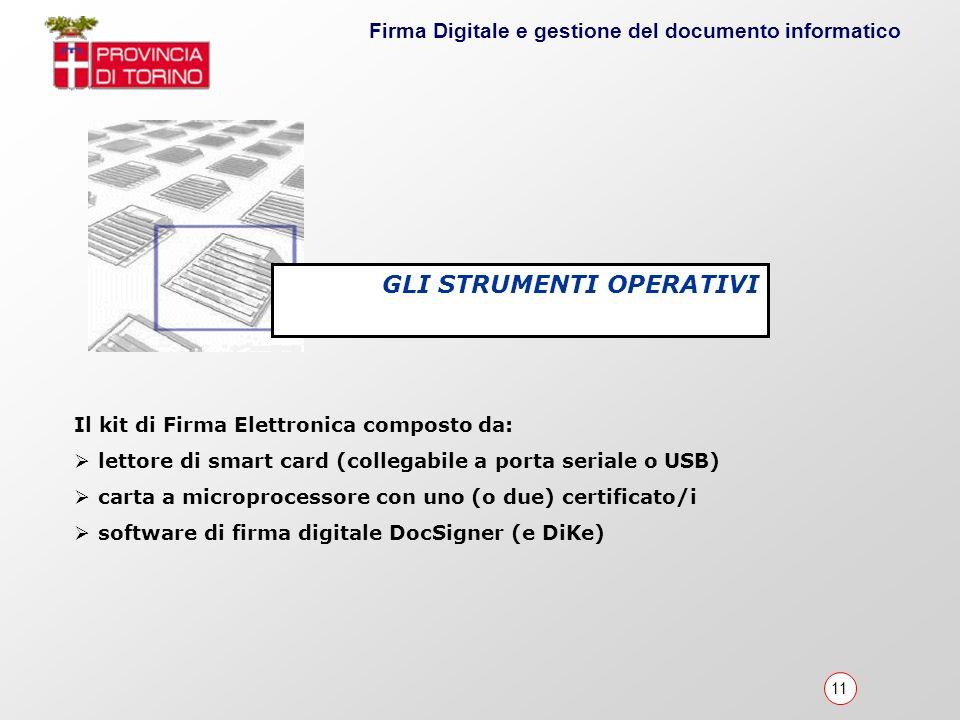 11 Firma Digitale e gestione del documento informatico Il kit di Firma Elettronica composto da: lettore di smart card (collegabile a porta seriale o U