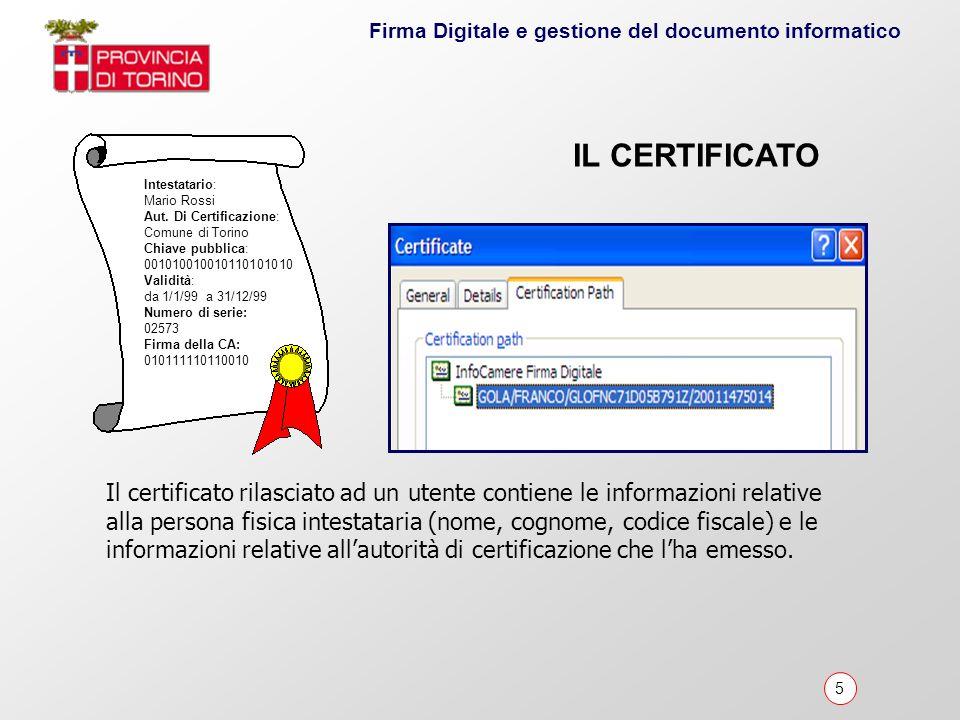 6 Firma Digitale e gestione del documento informatico Il Certificatore è lente/società/organizzazione che implementa le funzioni tecnico-organizzative di: Emissione Pubblicazione Revoca e sospensione dei certificati digitali agli utenti IL CERTIFICATORE