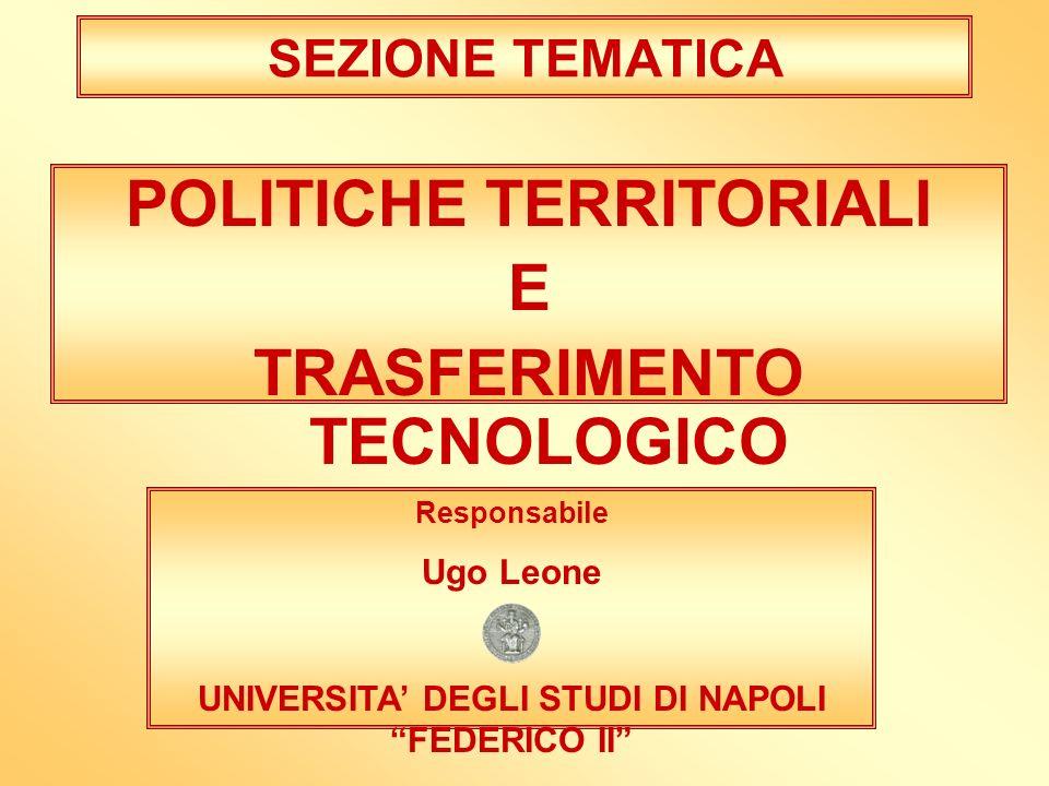 SEZIONE TEMATICA POLITICHE TERRITORIALI E TRASFERIMENTO TECNOLOGICO Responsabile Ugo Leone UNIVERSITA DEGLI STUDI DI NAPOLI FEDERICO II