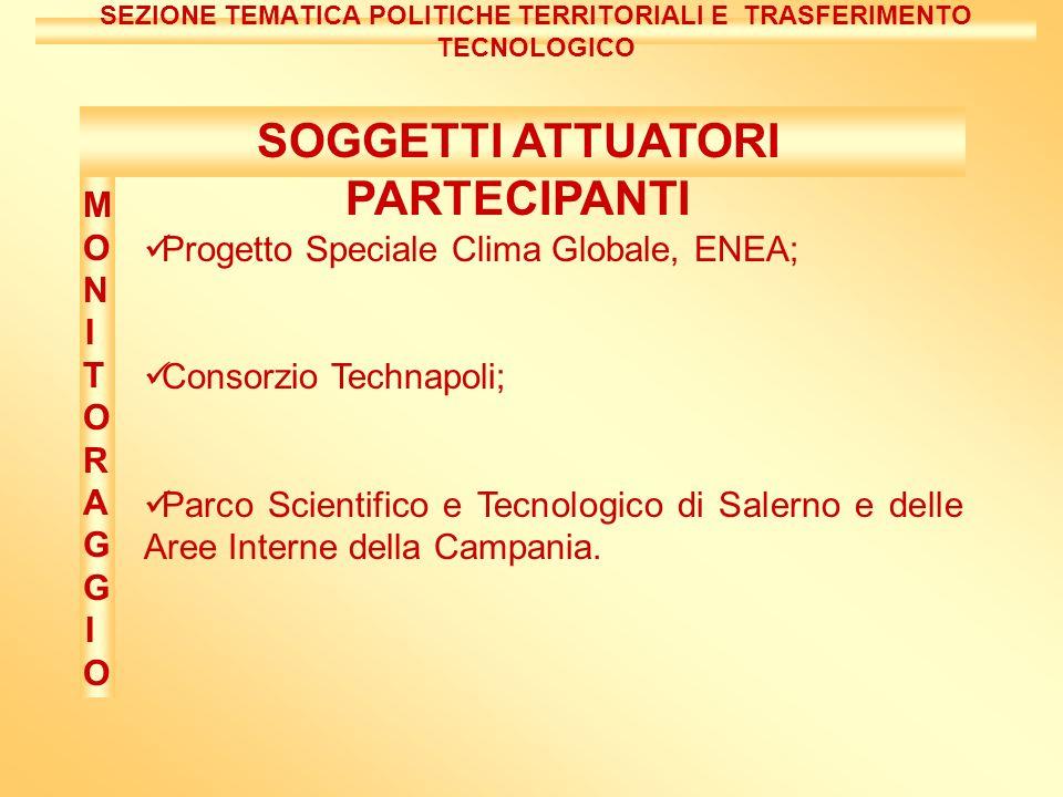 Progetto Speciale Clima Globale, ENEA; Consorzio Technapoli; Parco Scientifico e Tecnologico di Salerno e delle Aree Interne della Campania.