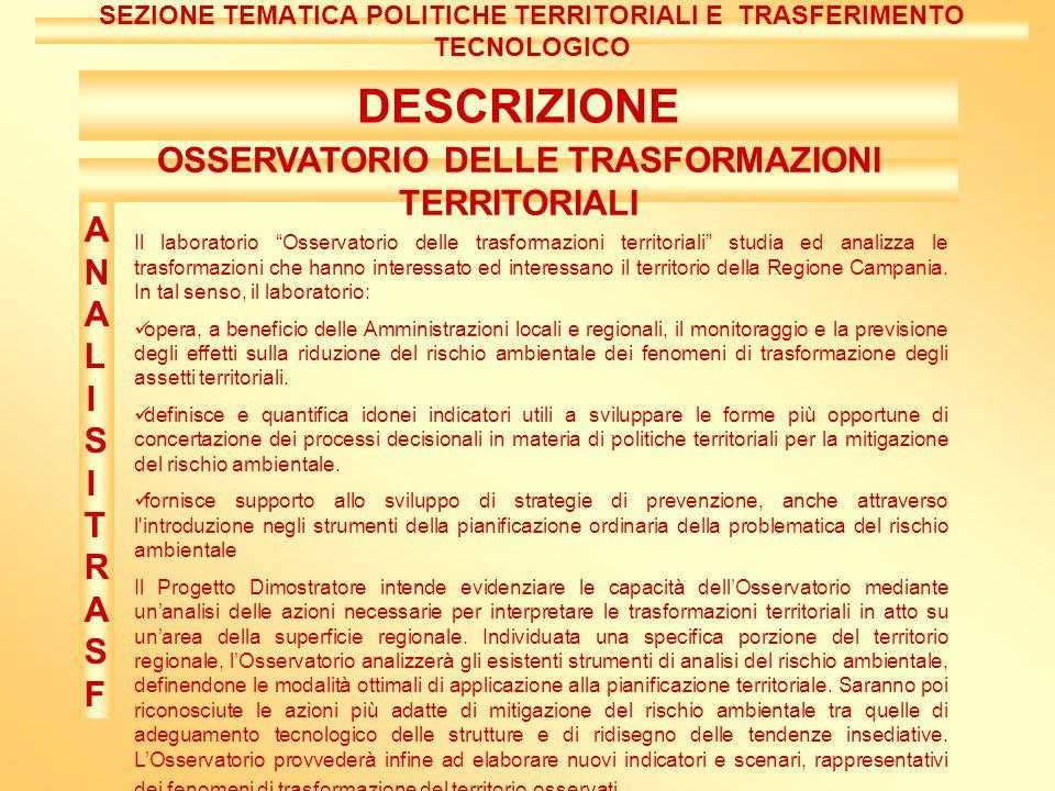 DESCRIZIONE Il laboratorio Osservatorio delle trasformazioni territoriali studia ed analizza le trasformazioni che hanno interessato ed interessano il territorio della Regione Campania.