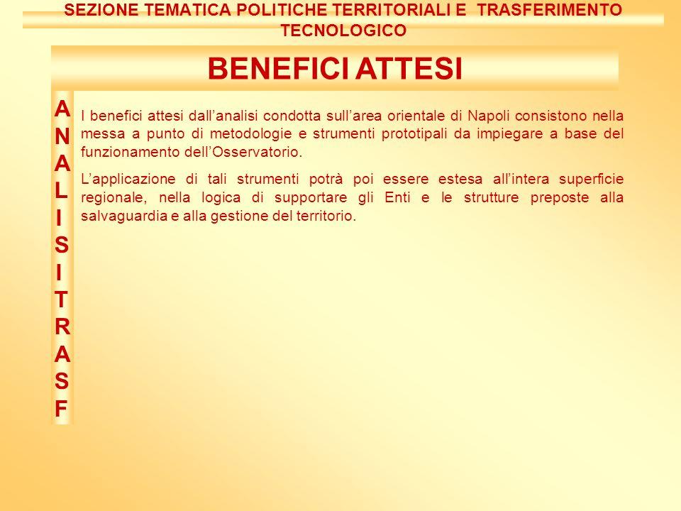 BENEFICI ATTESI I benefici attesi dallanalisi condotta sullarea orientale di Napoli consistono nella messa a punto di metodologie e strumenti prototipali da impiegare a base del funzionamento dellOsservatorio.