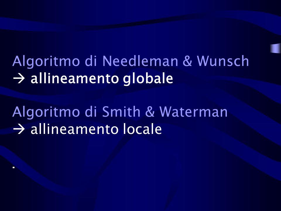 Algoritmo di Needleman & Wunsch allineamento globale Algoritmo di Smith & Waterman allineamento locale.
