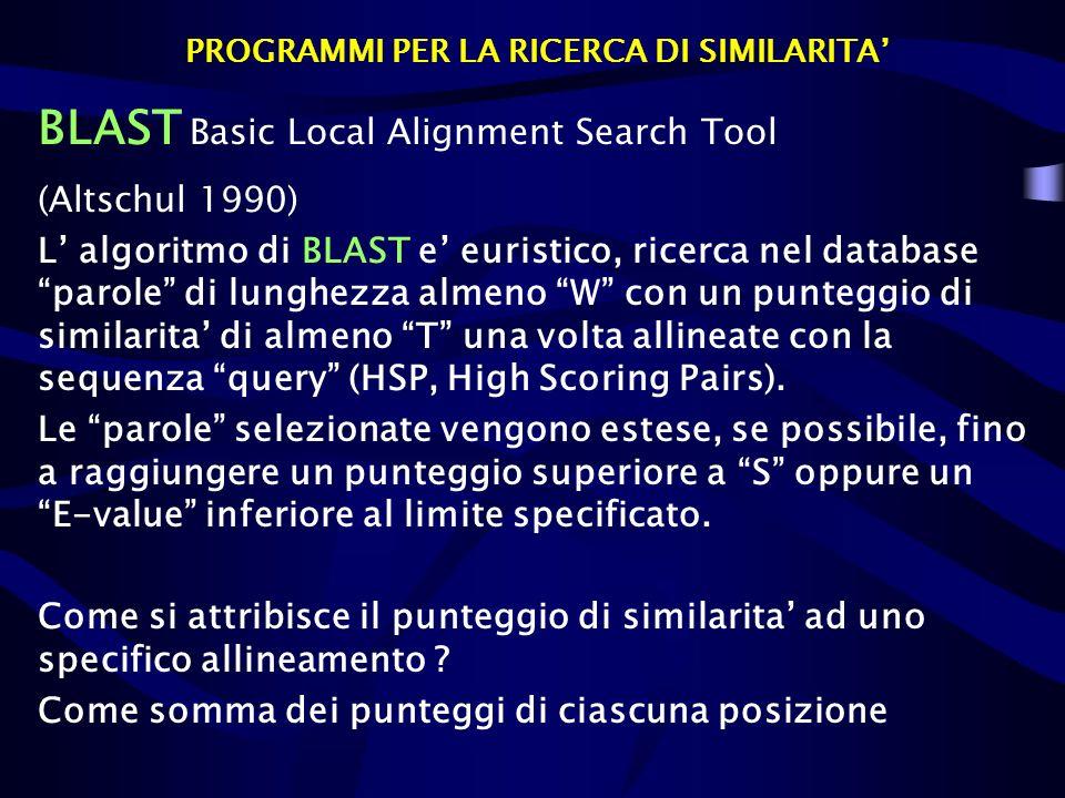 PROGRAMMI PER LA RICERCA DI SIMILARITA BLAST Basic Local Alignment Search Tool (Altschul 1990) L algoritmo di BLAST e euristico, ricerca nel database