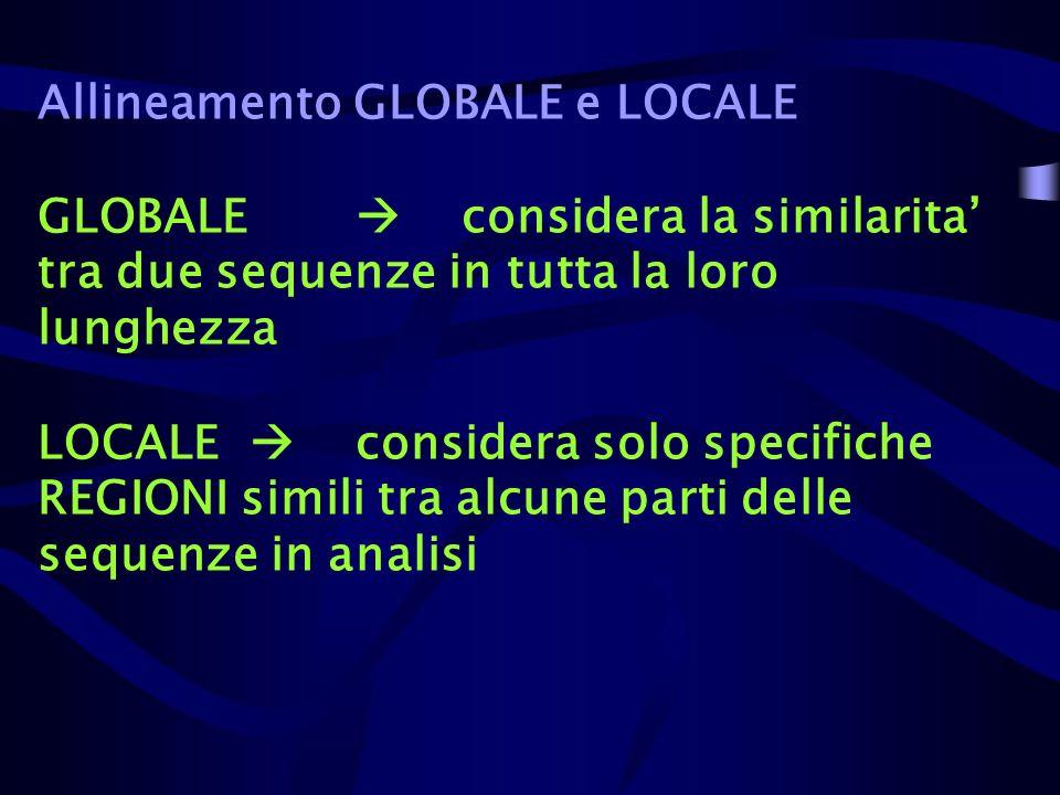Allineamento GLOBALE e LOCALE GLOBALE considera la similarita tra due sequenze in tutta la loro lunghezza LOCALE considera solo specifiche REGIONI sim