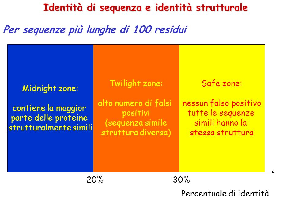Identità di sequenza e identità strutturale Per sequenze più lunghe di 100 residui Midnight zone: contiene la maggior parte delle proteine strutturalmente simili Twilight zone: alto numero di falsi positivi (sequenza simile struttura diversa) Safe zone: nessun falso positivo tutte le sequenze simili hanno la stessa struttura 20%30% Percentuale di identità