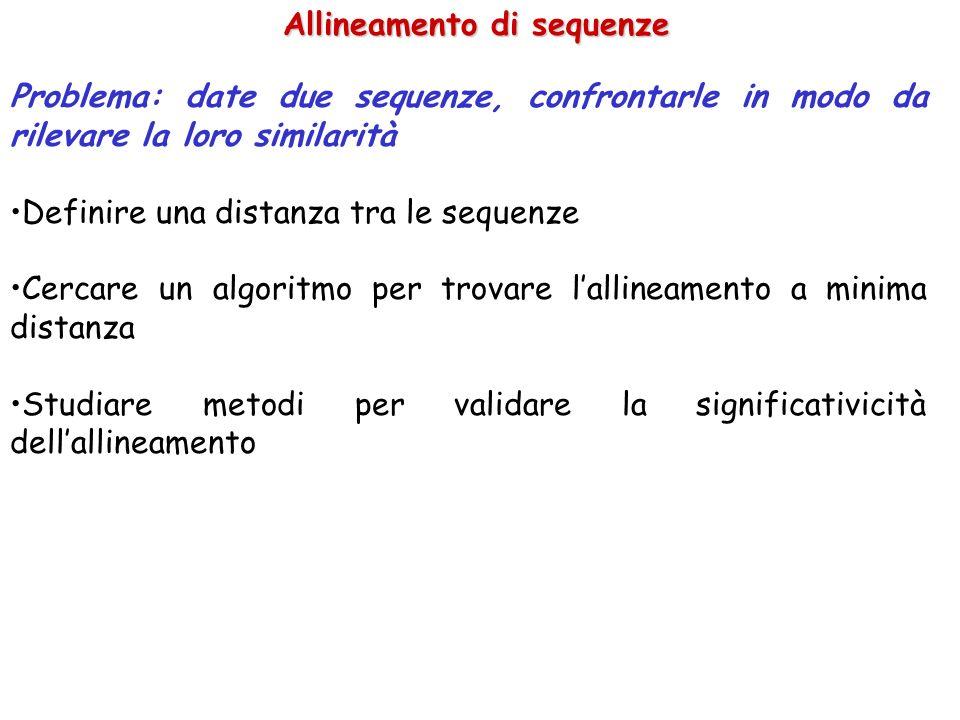 Allineamento di sequenze Problema: date due sequenze, confrontarle in modo da rilevare la loro similarità Definire una distanza tra le sequenze Cercar