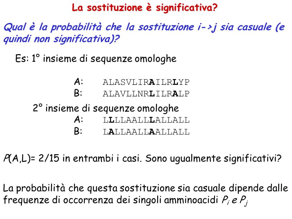 Qual è la probabilità che la sostituzione i->j sia casuale (e quindi non significativa)? La sostituzione è significativa? Es: 1° insieme di sequenze o