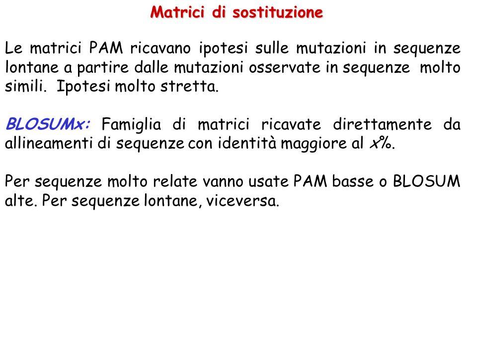 Matrici di sostituzione Le matrici PAM ricavano ipotesi sulle mutazioni in sequenze lontane a partire dalle mutazioni osservate in sequenze molto simili.