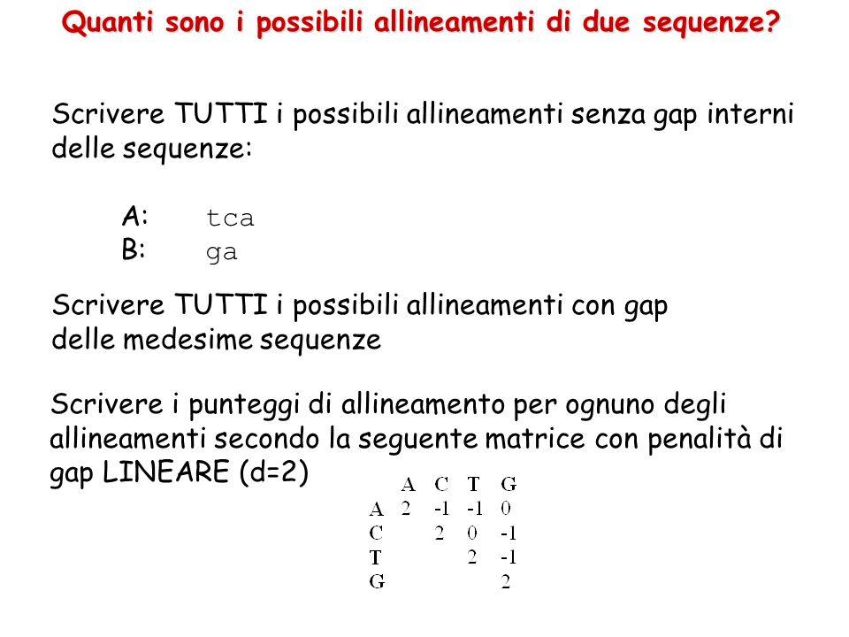 Quanti sono i possibili allineamenti di due sequenze? Scrivere TUTTI i possibili allineamenti senza gap interni delle sequenze: A: tca B: ga Scrivere