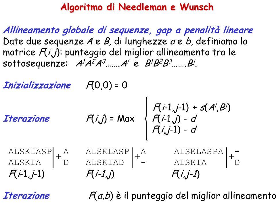 Algoritmo di Needleman e Wunsch Allineamento globale di sequenze, gap a penalità lineare Date due sequenze A e B, di lunghezze a e b, definiamo la matrice F(i,j): punteggio del miglior allineamento tra le sottosequenze: A 1 A 2 A 3 …….A i e B 1 B 2 B 3 …….B j.