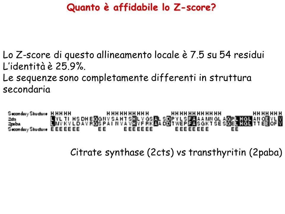 Lo Z-score di questo allineamento locale è 7.5 su 54 residui Lidentità è 25.9%. Le sequenze sono completamente differenti in struttura secondaria Citr