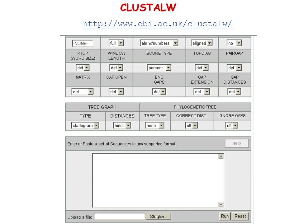 CLUSTALW http://www.ebi.ac.uk/clustalw/