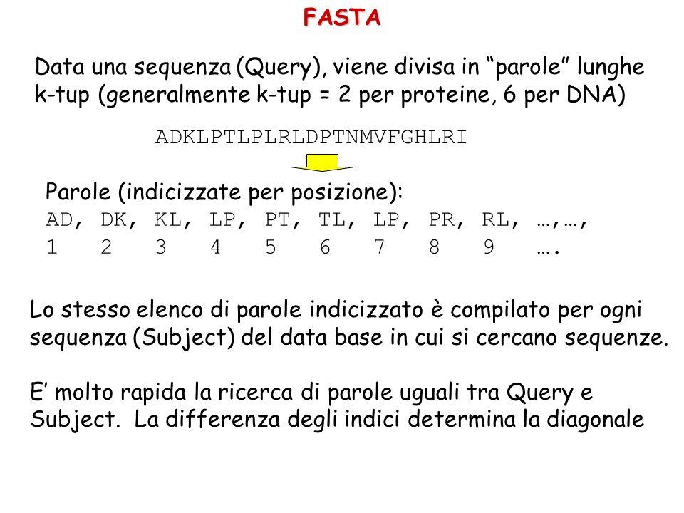 FASTA Data una sequenza (Query), viene divisa in parole lunghe k-tup (generalmente k-tup = 2 per proteine, 6 per DNA) ADKLPTLPLRLDPTNMVFGHLRI Parole (