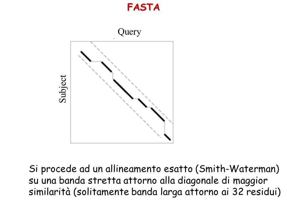 Query SubjectFASTA Si procede ad un allineamento esatto (Smith-Waterman) su una banda stretta attorno alla diagonale di maggior similarità (solitamente banda larga attorno ai 32 residui)