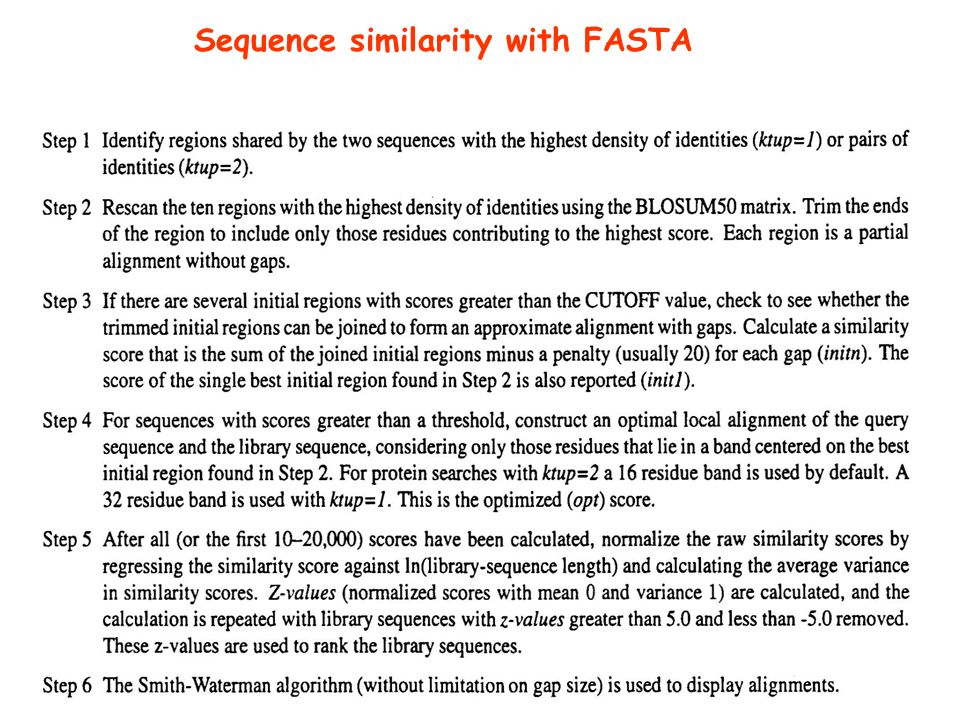 Sequence similarity with FASTA