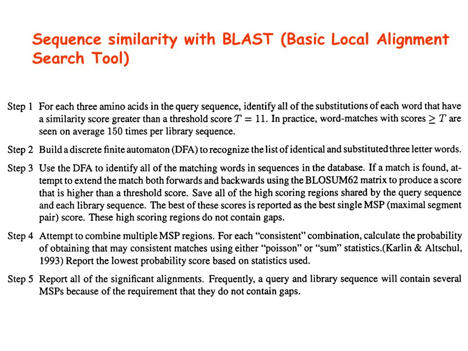 Sequence similarity with BLAST (Basic Local Alignment Search Tool)