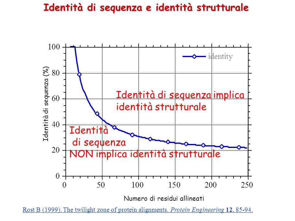 . Identità di sequenza e identità strutturale Quindi due sequenze più lunghe di 100 residui, che condividano il 30 % dei residui, hanno struttura simile Per sequenze più corte la percentuale di identità deve essere più alta Questo NON implica che sequenze con identità minore abbiano strutture differenti Esempio: Mioglobina di capodoglio e emoglobina batterica: RMSD = 0.19 nm, Identità: 14%