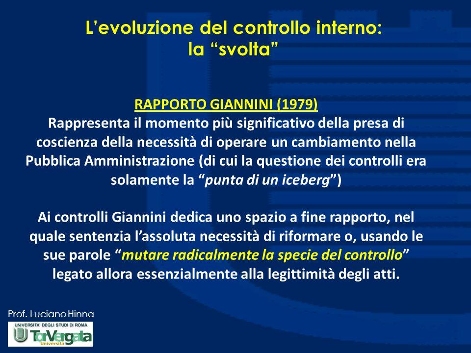 Prof. Luciano Hinna Levoluzione del controllo interno: la svolta RAPPORTO GIANNINI (1979) Rappresenta il momento più significativo della presa di cosc