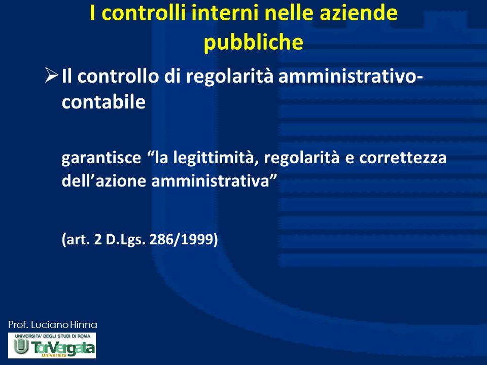 Prof. Luciano Hinna I controlli interni nelle aziende pubbliche Il controllo di regolarità amministrativo- contabile garantisce la legittimità, regola