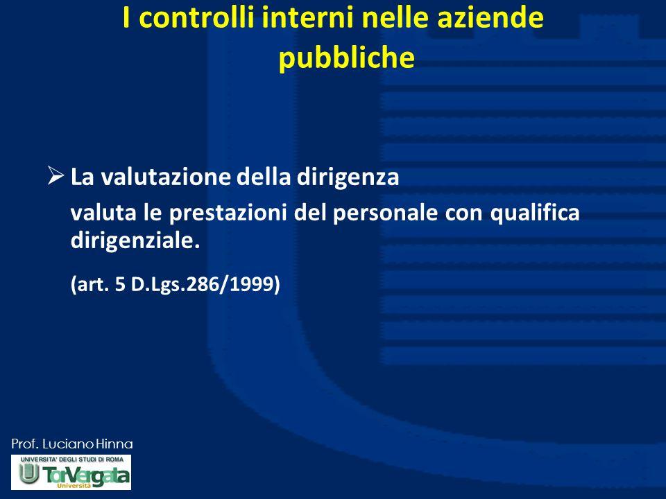 Prof. Luciano Hinna I controlli interni nelle aziende pubbliche La valutazione della dirigenza valuta le prestazioni del personale con qualifica dirig