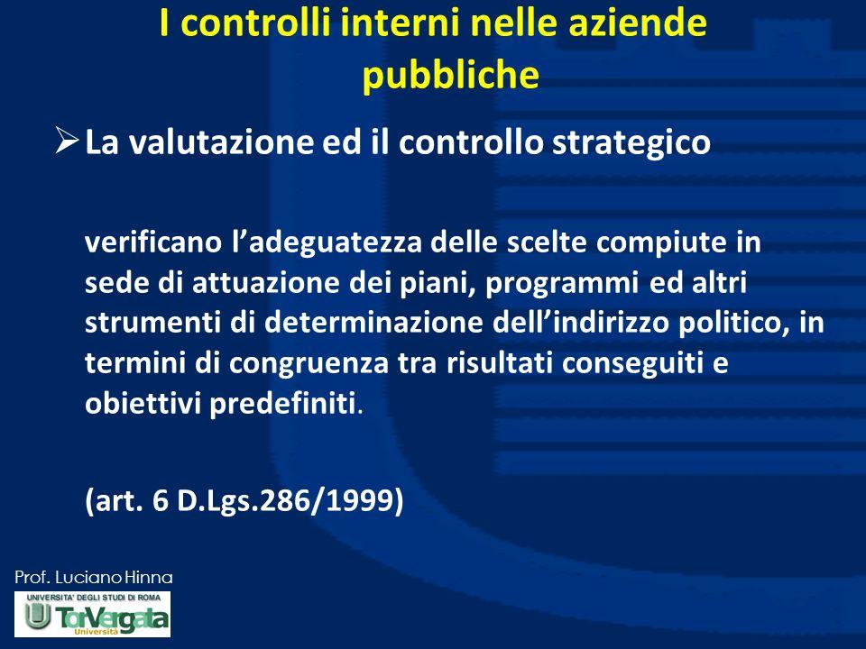 Prof. Luciano Hinna I controlli interni nelle aziende pubbliche La valutazione ed il controllo strategico verificano ladeguatezza delle scelte compiut