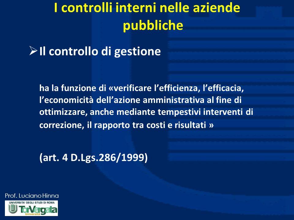 Prof. Luciano Hinna Il controllo di gestione ha la funzione di «verificare lefficienza, lefficacia, leconomicità dellazione amministrativa al fine di