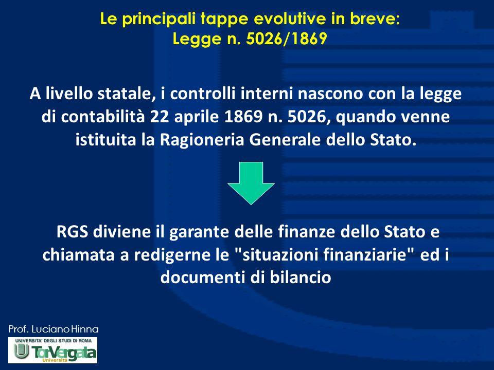 Prof. Luciano Hinna A livello statale, i controlli interni nascono con la legge di contabilità 22 aprile 1869 n. 5026, quando venne istituita la Ragio