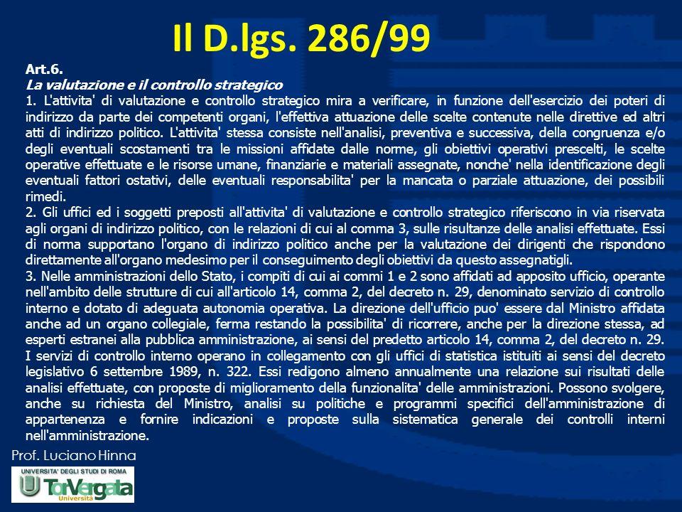 Prof. Luciano Hinna Il D.lgs. 286/99 Art.6. La valutazione e il controllo strategico 1. L'attivita' di valutazione e controllo strategico mira a verif