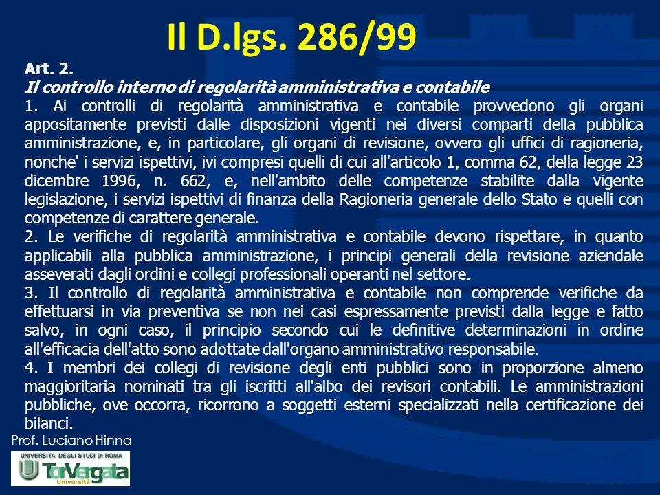 Prof. Luciano Hinna Il D.lgs. 286/99 Art. 2. Il controllo interno di regolarità amministrativa e contabile 1. Ai controlli di regolarità amministrativ