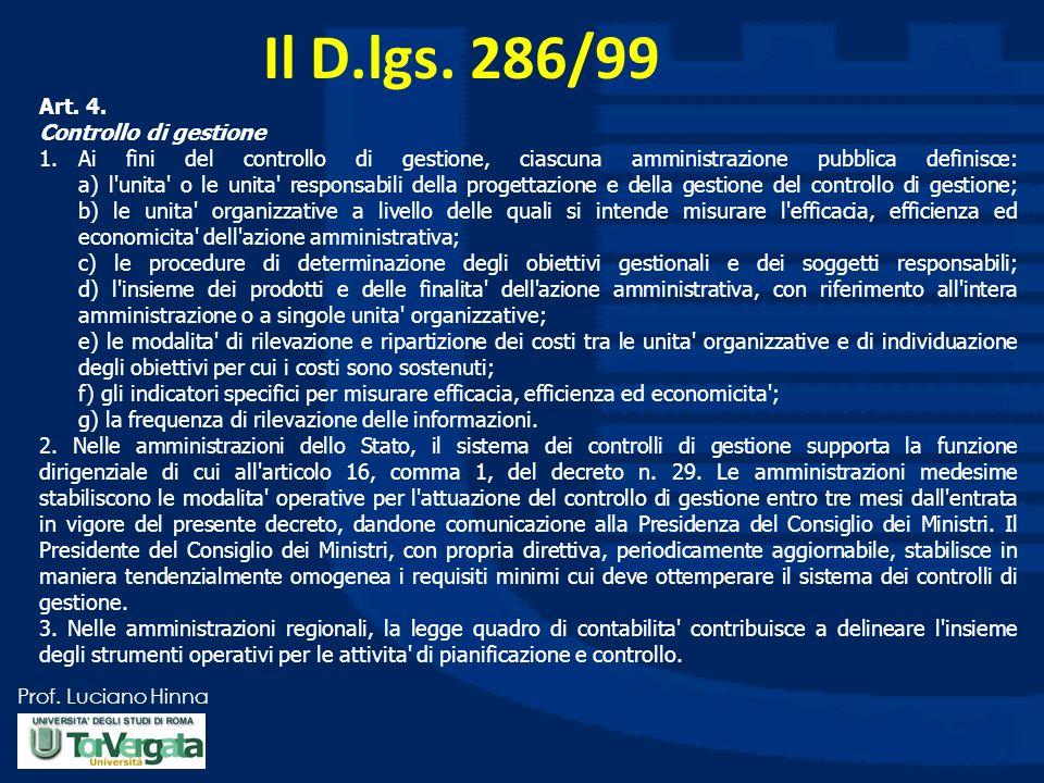 Prof. Luciano Hinna Il D.lgs. 286/99 Art. 4. Controllo di gestione 1.Ai fini del controllo di gestione, ciascuna amministrazione pubblica definisce: a
