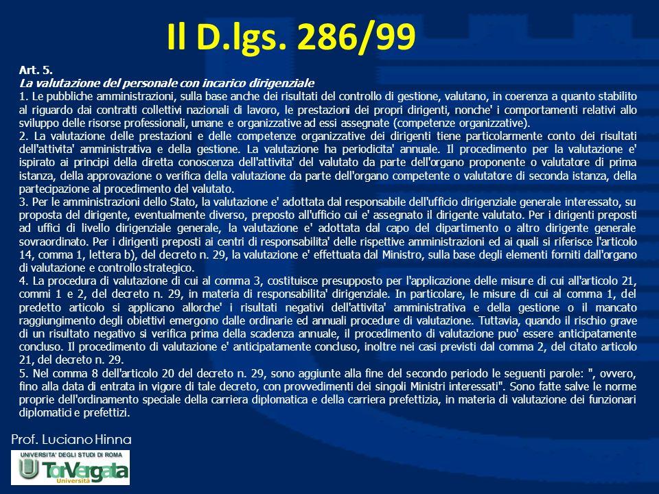 Prof. Luciano Hinna Il D.lgs. 286/99 Art. 5. La valutazione del personale con incarico dirigenziale 1. Le pubbliche amministrazioni, sulla base anche