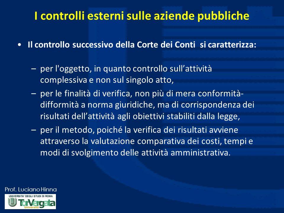 Prof. Luciano Hinna I controlli esterni sulle aziende pubbliche Il controllo successivo della Corte dei Conti si caratterizza: –per l'oggetto, in quan