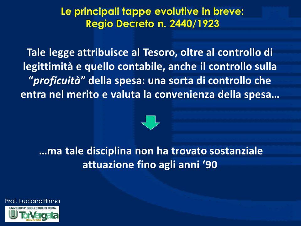 Prof. Luciano Hinna Le principali tappe evolutive in breve: Regio Decreto n. 2440/1923 Tale legge attribuisce al Tesoro, oltre al controllo di legitti