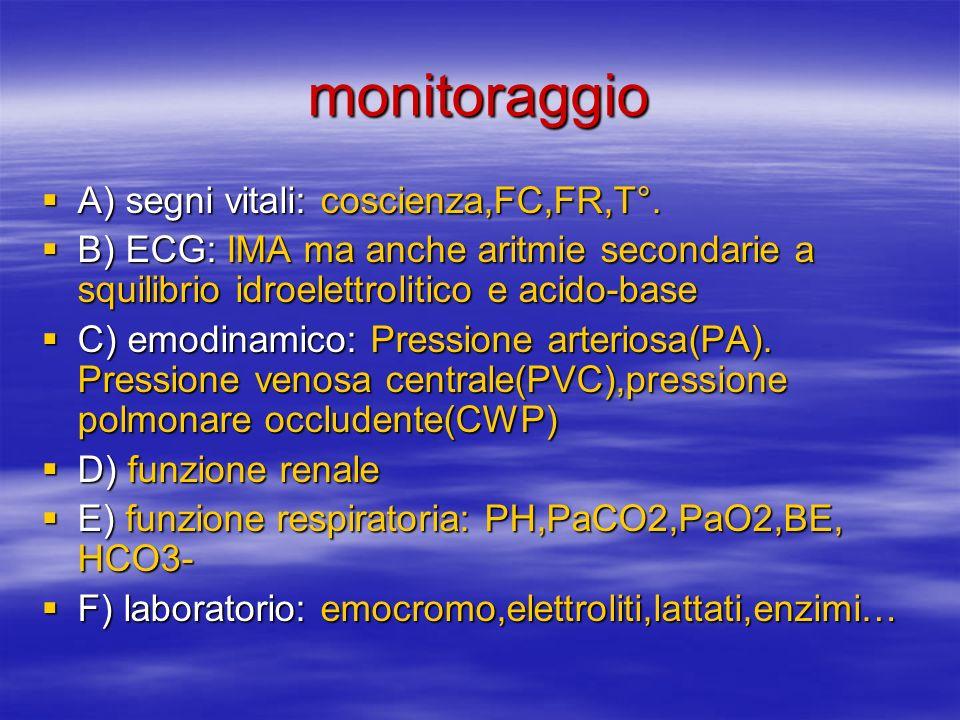 monitoraggio A) segni vitali: coscienza,FC,FR,T°.A) segni vitali: coscienza,FC,FR,T°.