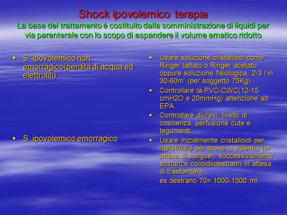 Shock ipovolemico terapia La base del trattamento è costituito dalla somministrazione di liquidi per via parenterale con lo scopo di espandere il volume ematico ridotto S.