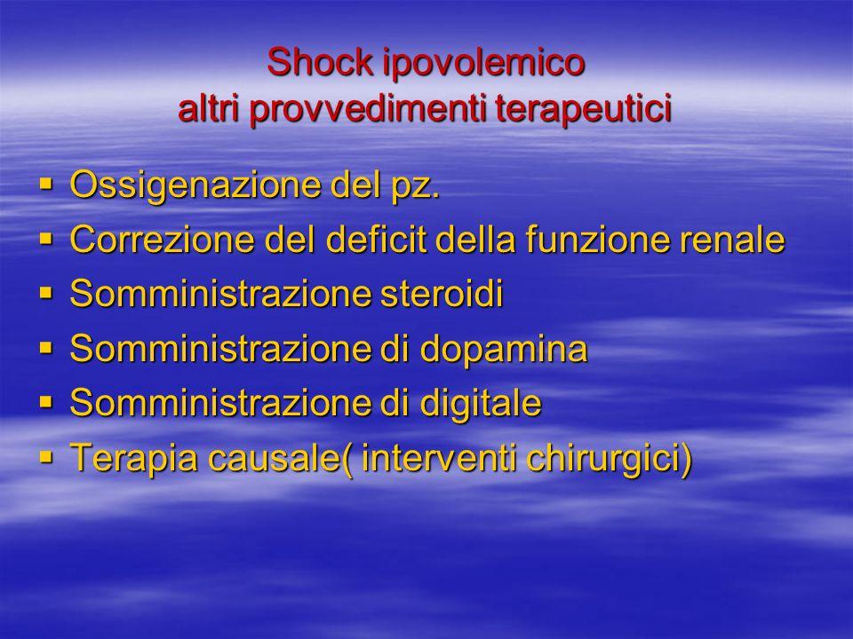 Shock ipovolemico altri provvedimenti terapeutici Ossigenazione del pz.
