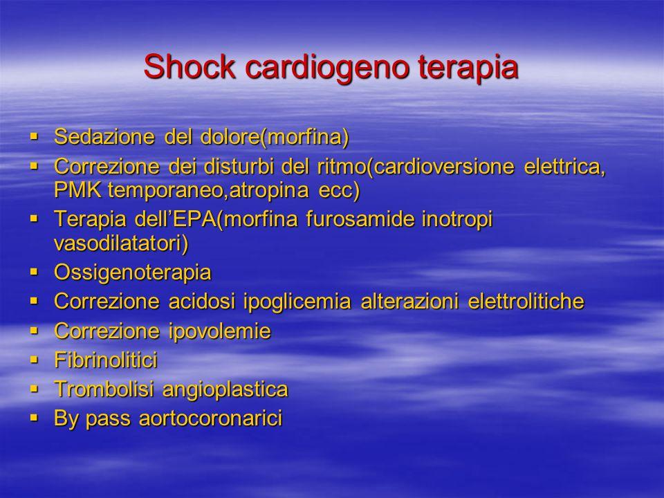 Shock cardiogeno terapia Sedazione del dolore(morfina) Sedazione del dolore(morfina) Correzione dei disturbi del ritmo(cardioversione elettrica, PMK temporaneo,atropina ecc) Correzione dei disturbi del ritmo(cardioversione elettrica, PMK temporaneo,atropina ecc) Terapia dellEPA(morfina furosamide inotropi vasodilatatori) Terapia dellEPA(morfina furosamide inotropi vasodilatatori) Ossigenoterapia Ossigenoterapia Correzione acidosi ipoglicemia alterazioni elettrolitiche Correzione acidosi ipoglicemia alterazioni elettrolitiche Correzione ipovolemie Correzione ipovolemie Fibrinolitici Fibrinolitici Trombolisi angioplastica Trombolisi angioplastica By pass aortocoronarici By pass aortocoronarici