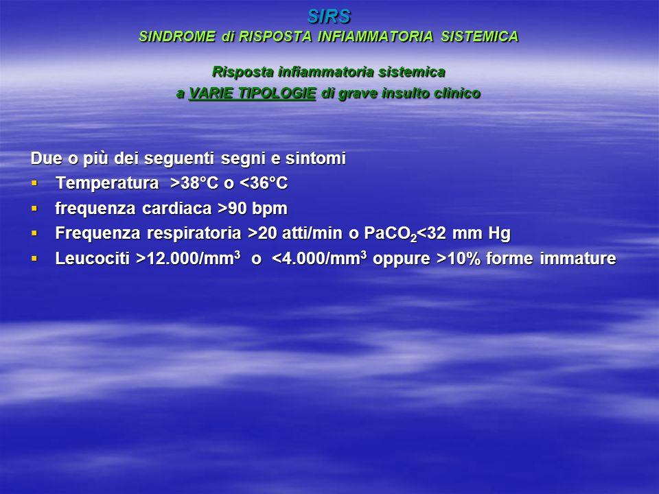 SIRS SINDROME di RISPOSTA INFIAMMATORIA SISTEMICA Risposta infiammatoria sistemica a VARIE TIPOLOGIE di grave insulto clinico Due o più dei seguenti segni e sintomi Temperatura >38°C o 38°C o <36°C frequenza cardiaca >90 bpm frequenza cardiaca >90 bpm Frequenza respiratoria >20 atti/min o PaCO 2 20 atti/min o PaCO 2 <32 mm Hg Leucociti >12.000/mm 3 o 10% forme immature Leucociti >12.000/mm 3 o 10% forme immature
