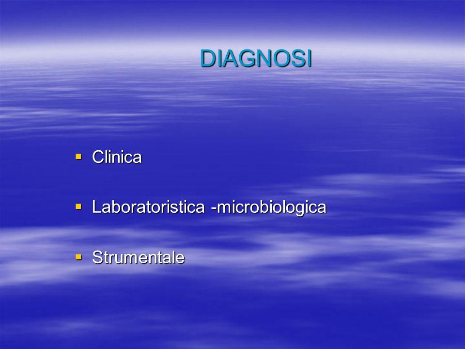 DIAGNOSI Clinica Clinica Laboratoristica -microbiologica Laboratoristica -microbiologica Strumentale Strumentale