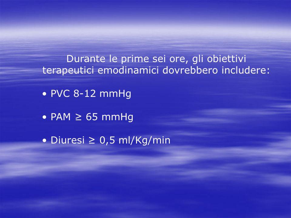 Durante le prime sei ore, gli obiettivi terapeutici emodinamici dovrebbero includere: PVC 8-12 mmHg PAM 65 mmHg Diuresi 0,5 ml/Kg/min