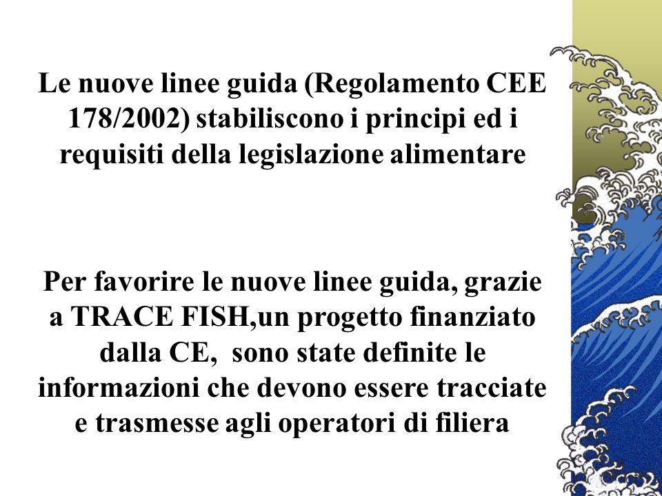 Le nuove linee guida (Regolamento CEE 178/2002) stabiliscono i principi ed i requisiti della legislazione alimentare Per favorire le nuove linee guida, grazie a TRACE FISH,un progetto finanziato dalla CE, sono state definite le informazioni che devono essere tracciate e trasmesse agli operatori di filiera